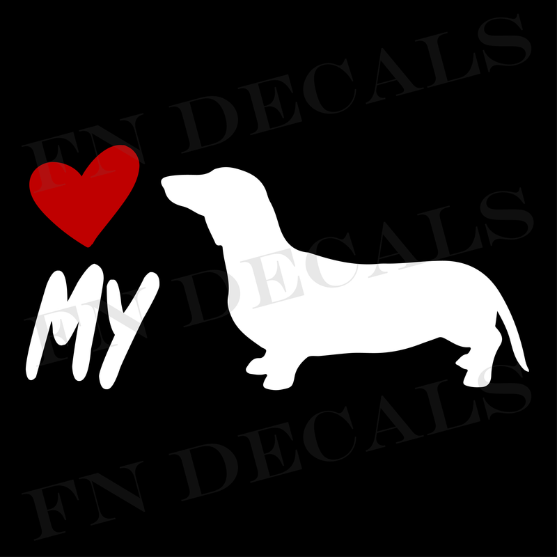 Love My Dachshund Vinyl Decal Sticker (V1) - Decal Sticker World