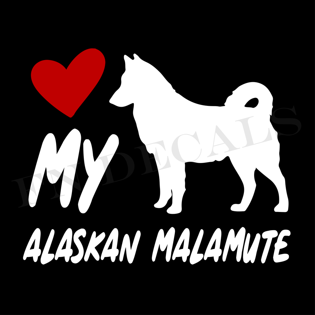 Alaskan Malamute Love My with Breed Label Custom Car Window Vinyl Decal - FN Decals
