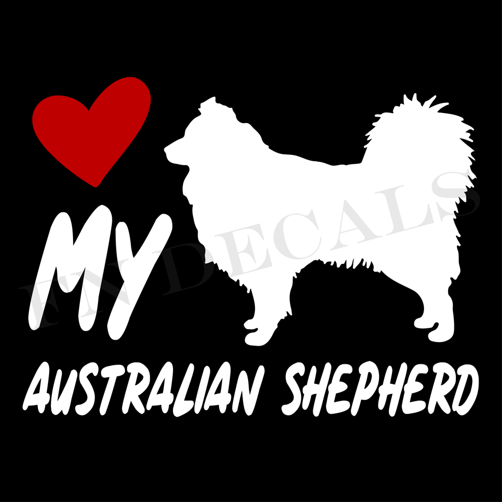 Australian Shepherd Love My with Breed Label Custom Car Window Vinyl Decal - FN Decals