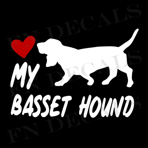 Basset Hound Love My with Breed Label Custom Car Window Vinyl Decal - FN Decals