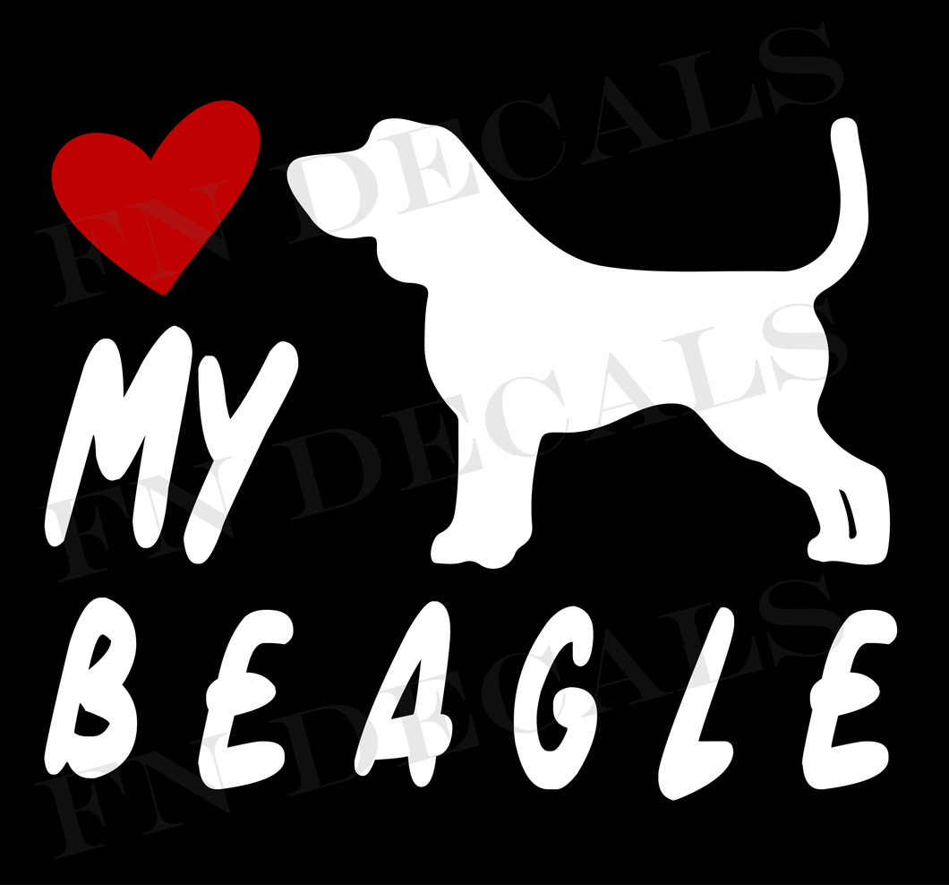 Love My Beagle Vinyl Decal Sticker (V2) - Decal Sticker World