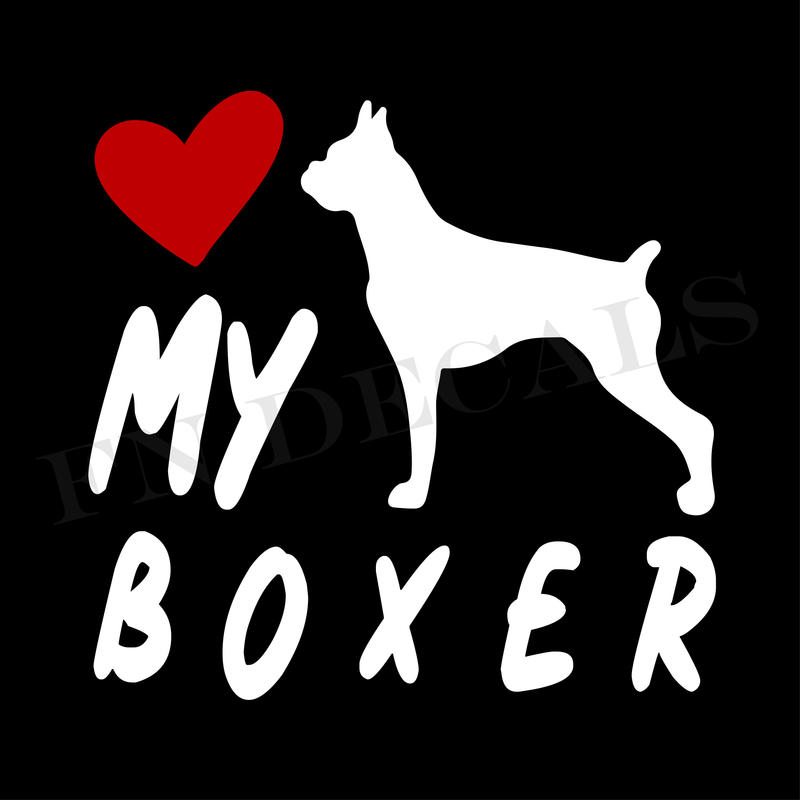 Love My Boxer Vinyl Decal Sticker (V2) - Decal Sticker World