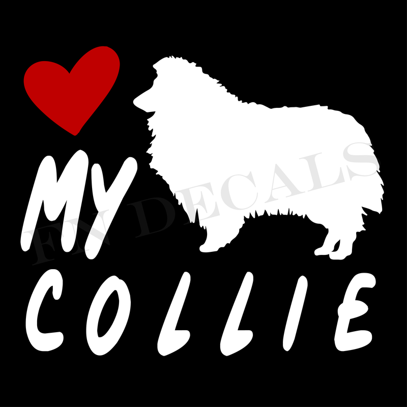 Love My Collie Vinyl Decal Sticker (V2) - Decal Sticker World