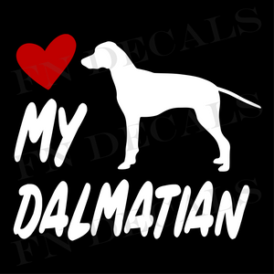 Dalmatian Love My with Breed Label Custom Car Window Vinyl Decal Sticker - FN Decals