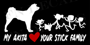 My Akita Love Your Stick Family Custom Car Window Vinyl Decal - FN Decals
