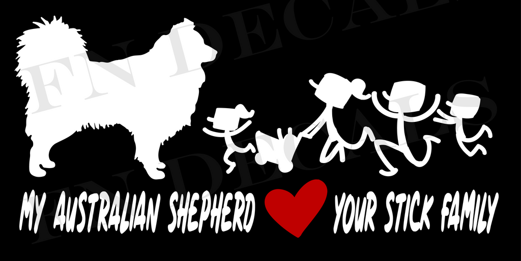 Australian Shepherd Love Custom Car Window Vinyl Decal - FN Decals