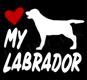 Labrador Love My with Breed Label Custom Car Window Vinyl Decal - FN Decals
