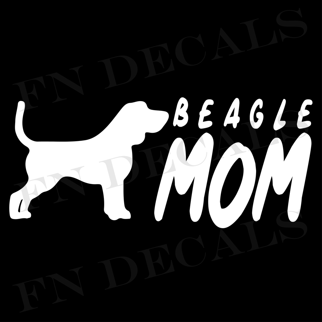 Beagle Mom 2 Custom Car Window Vinyl Decal - FN Decals