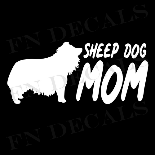 Sheepdog Mom 2 Custom Car Window Vinyl Decal Sticker - FN Decals
