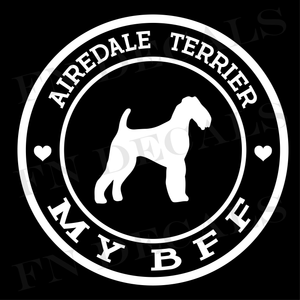 Airedale Terrier Love My BFF Label Custom Car Window Vinyl Decal - FN Decals
