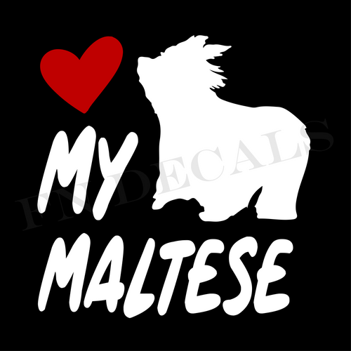 Maltese Love My with Breed Label Custom Car Window Vinyl Decal - FN Decals