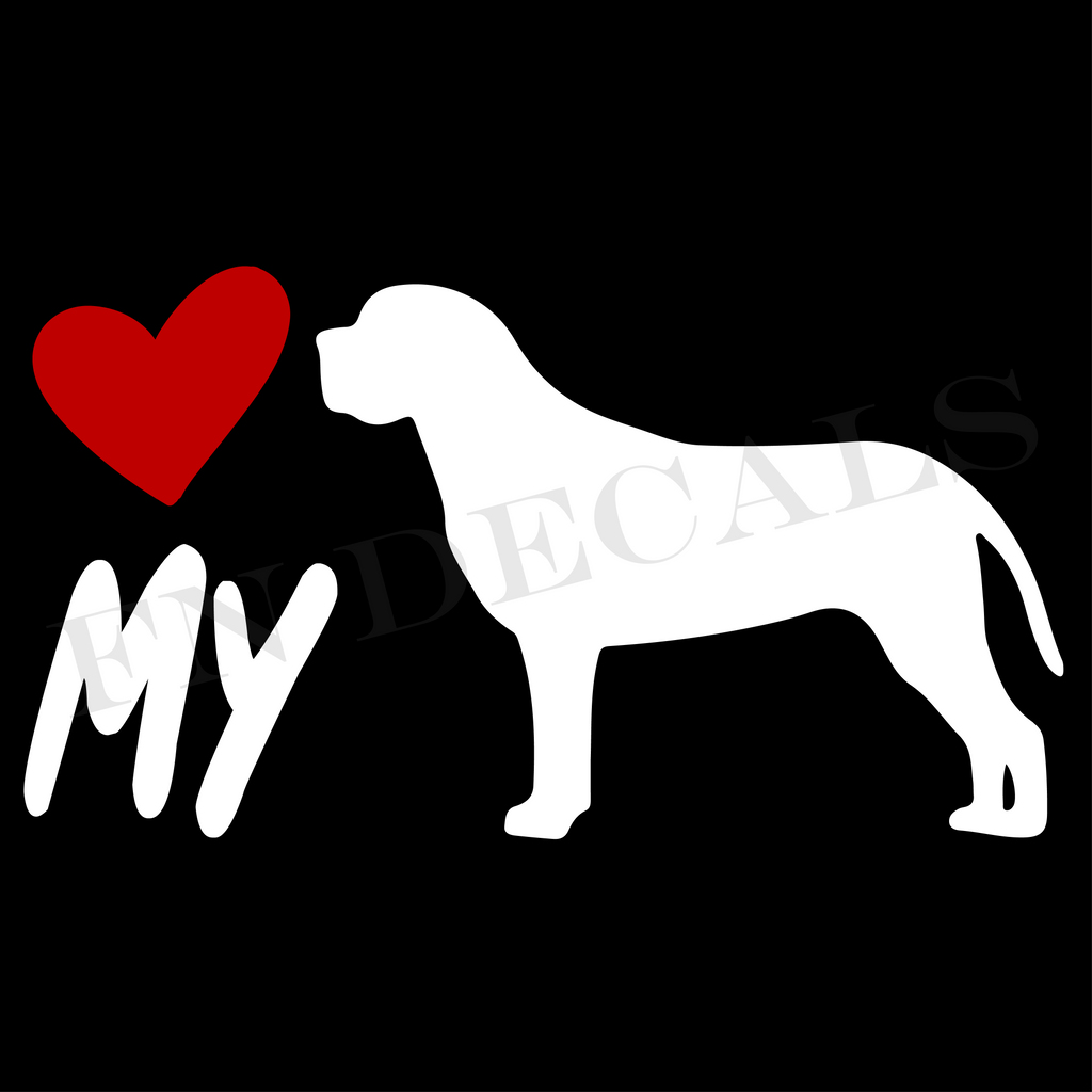 Mastiff Love My Custom Car Window Vinyl Decal - FN Decals