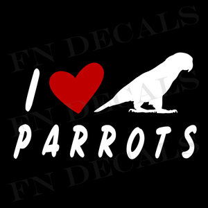I Love Parrots Custom Car Window Vinyl Decal Sticker - FN Decals