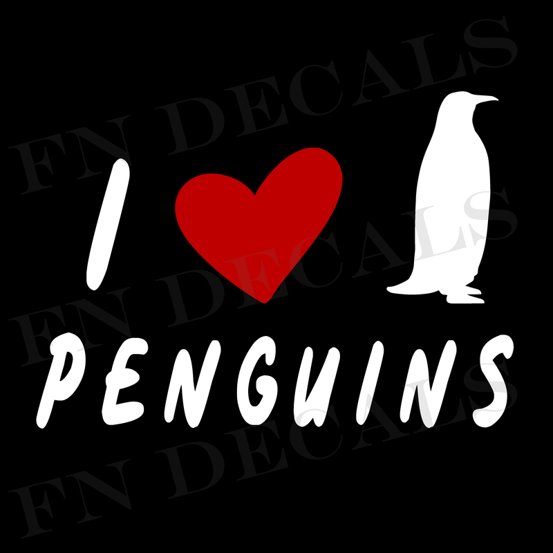 I Love Penguins Vinyl Decal Sticker - Decal Sticker World