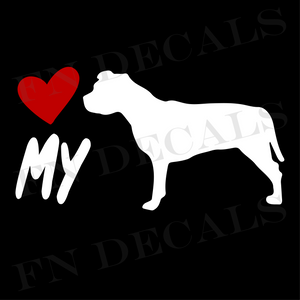 Pitbull Love My Custom Car Window Vinyl Decal Sticker - FN Decals