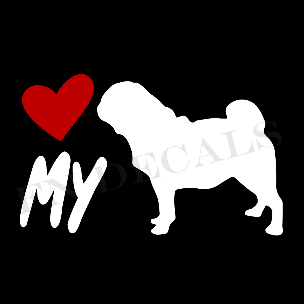 Pug Love My Custom Car Window Vinyl Decal - FN Decals