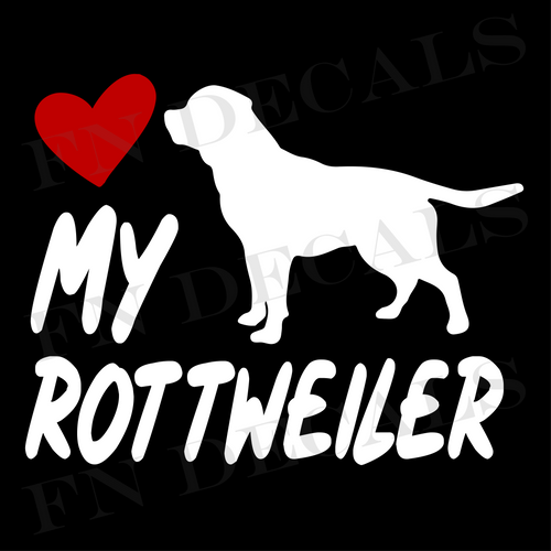 Love My Rottweiler Vinyl Decal Sticker (V2) - Decal Sticker World