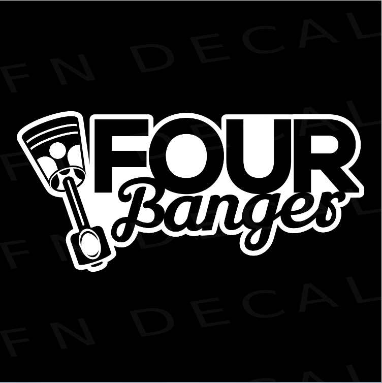 Four Banger Custom Car Window Vinyl Decal Sticker - FN Decals