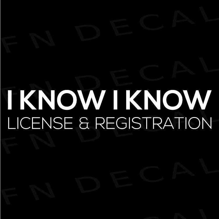 License & Registration Car Vinyl Decal Sticker - Decal Sticker World