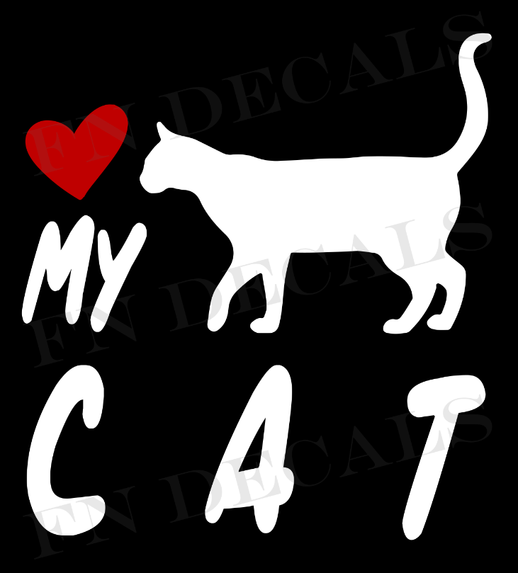 Cat Love My with Breed Label Custom Car Window Vinyl Decal Sticker - FN Decals
