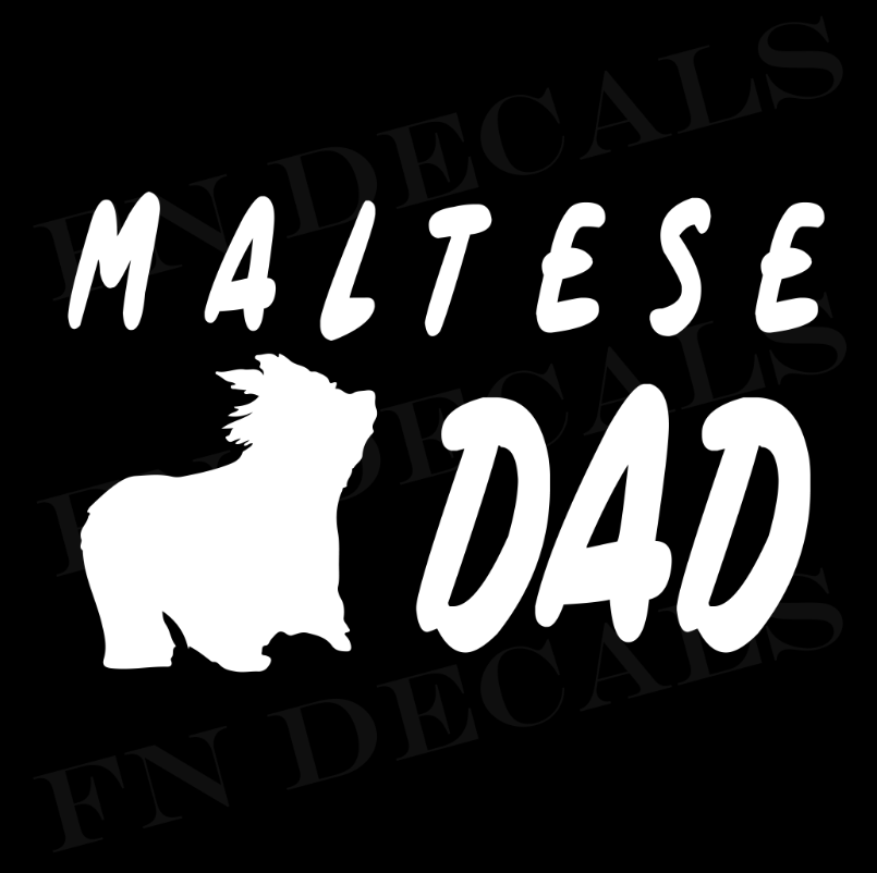 Maltese Dad Vinyl Decal Sticker (V1) - Decal Sticker World
