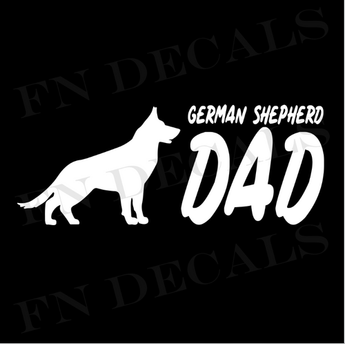 German Shepherd Dad 2 Custom Car Window Vinyl Decal Sticker - FN Decals