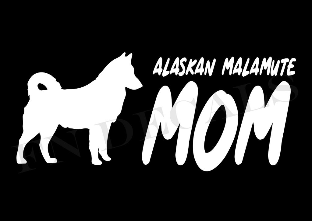 Alaskan Malamute Mom 2 Custom Car Window Vinyl Decal - FN Decals