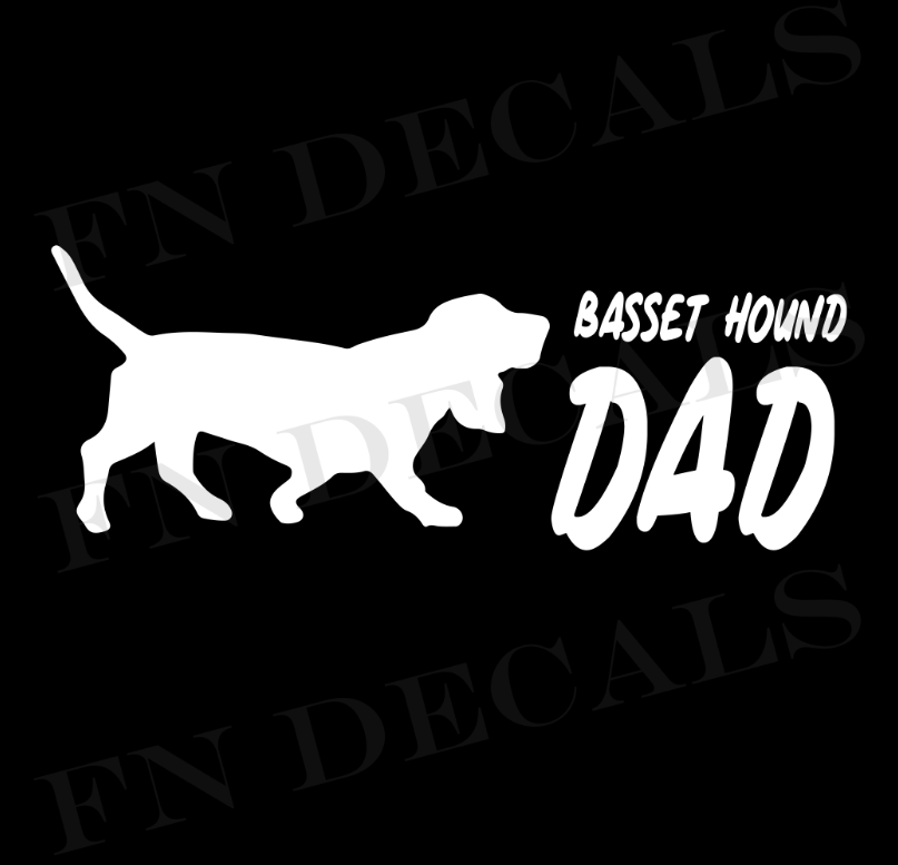 Basset Hound Dad 2 Custom Car Window Vinyl Decal - FN Decals