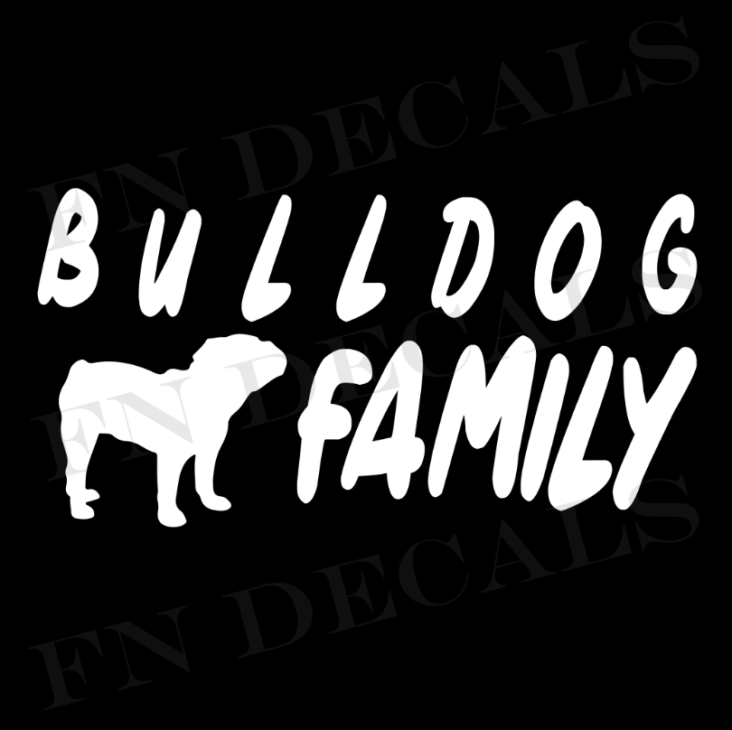 Bulldog Family 1 Custom Car Window Vinyl Decal - FN Decals