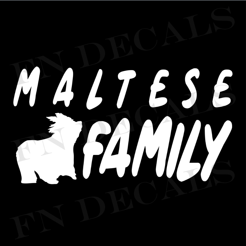Maltese Family 1 Custom Car Window Vinyl Decal - FN Decals