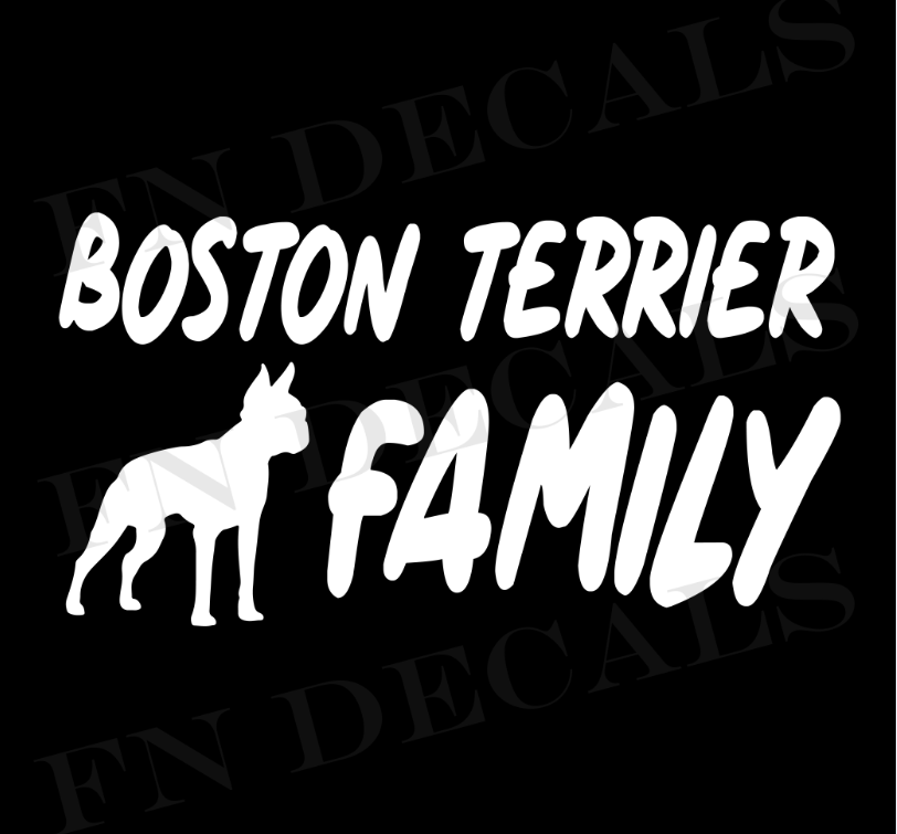 Boston Terrier Family 1 Custom Car Window Vinyl Decal - FN Decals