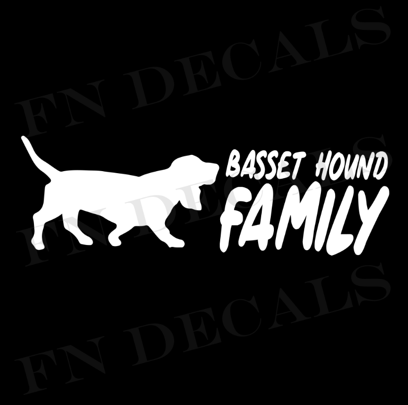 Basset Hound Family 2 Custom Car Window Vinyl Decal Sticker - FN Decals