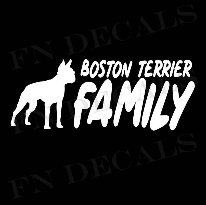Boston Terrier Family 2 Custom Car Window Vinyl Decal - FN Decals