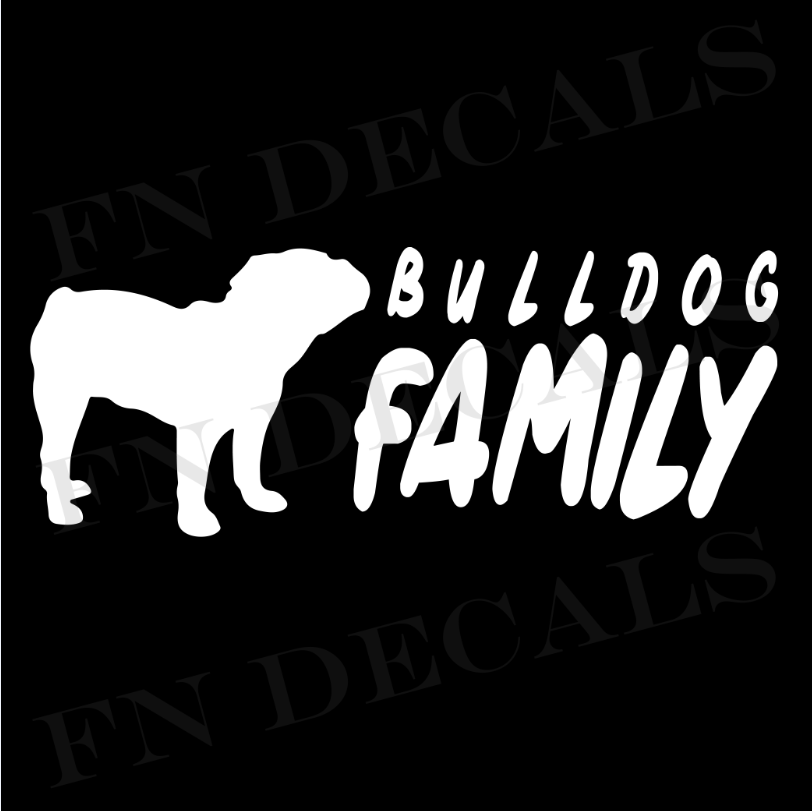 Bulldog Family 2 Custom Car Window Vinyl Decal Sticker - FN Decals