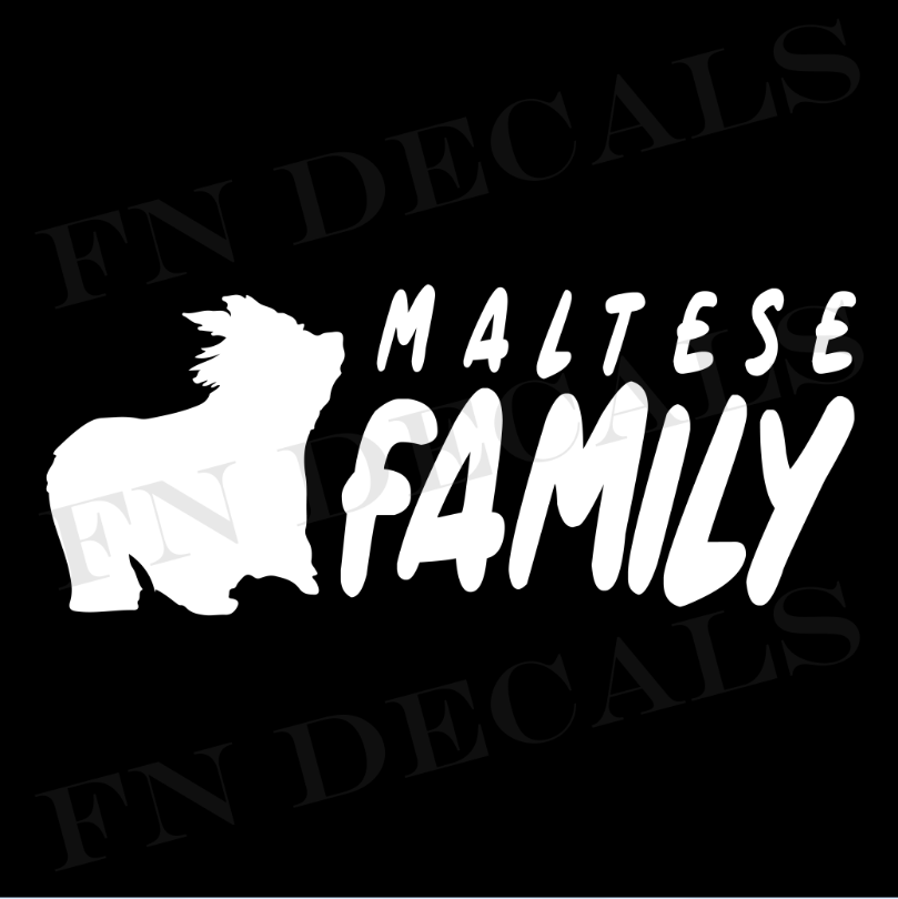 Maltese Family 2 Custom Car Window Vinyl Decal - FN Decals