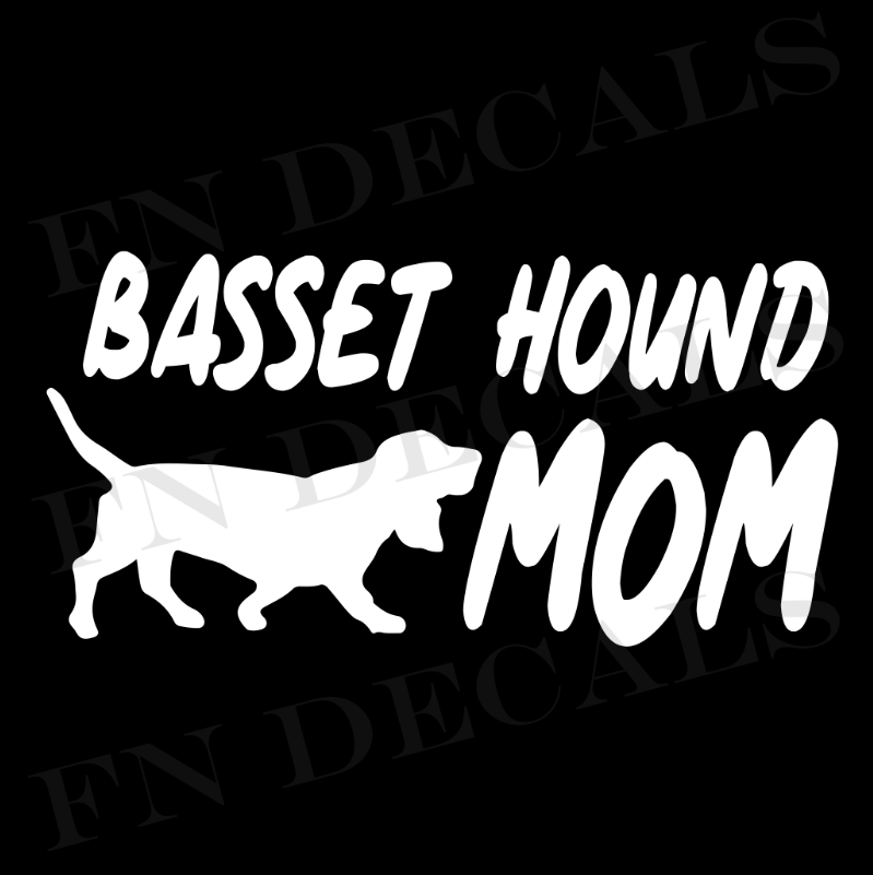 Basset Hound Mom Vinyl Decal Sticker (V1) - Decal Sticker World