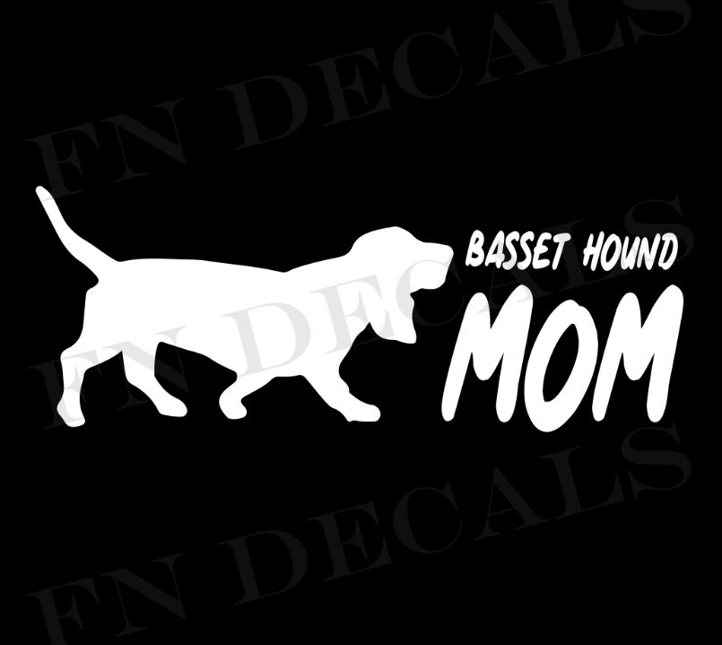 Basset Hound Mom 2 Custom Car Window Vinyl Decal - FN Decals
