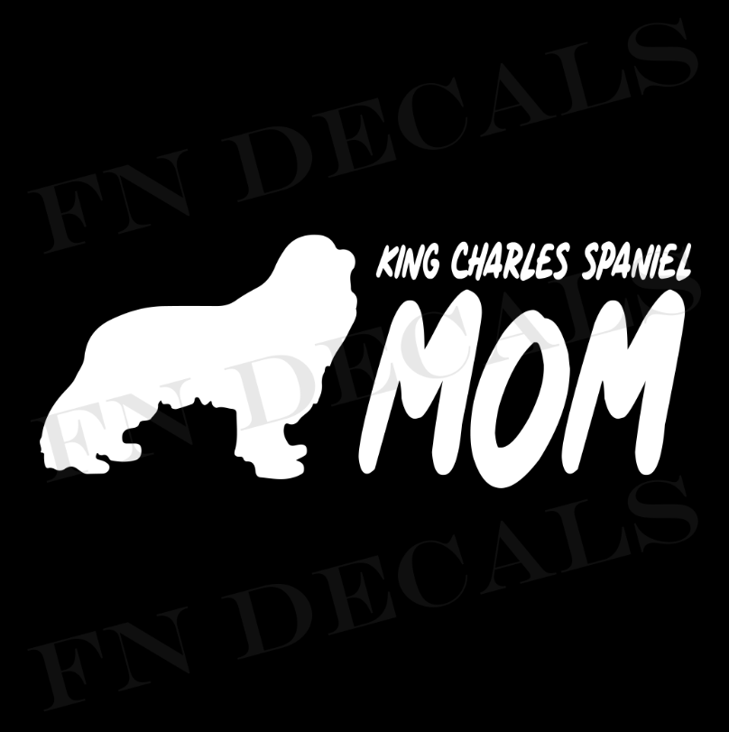 King Charles Mom 2 Custom Car Window Vinyl Decal - FN Decals
