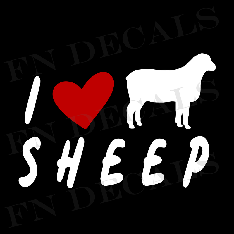 I Love Sheep Vinyl Decal Sticker - Decal Sticker World