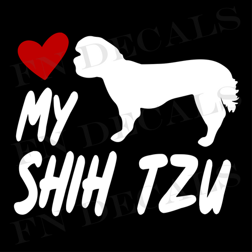 Shih Tzu Love My with Breed Label Custom Car Window Vinyl Decal Sticker - FN Decals