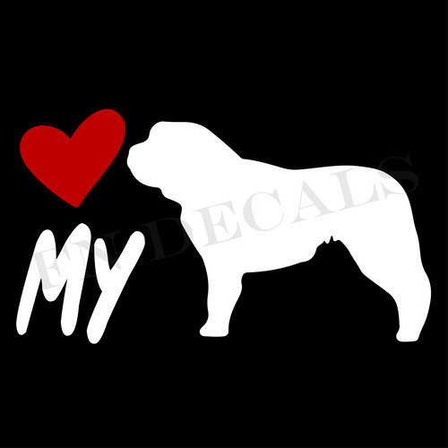 St. Bernard Love My Custom Car Window Vinyl Decal - FN Decals