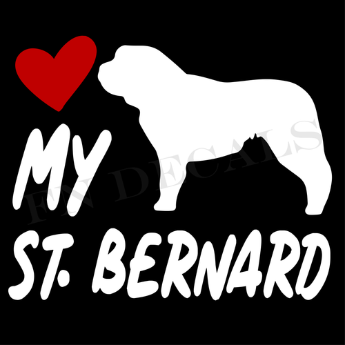 St. Bernard Love My with Breed Label Custom Car Window Vinyl Decal - FN Decals