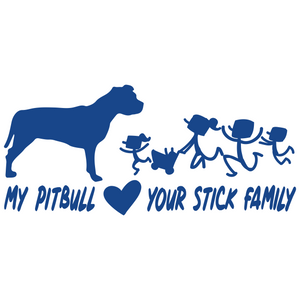 My Pitbull Loves Your Stick Family Vinyl Decal Pit Bull Love - FN Decals
