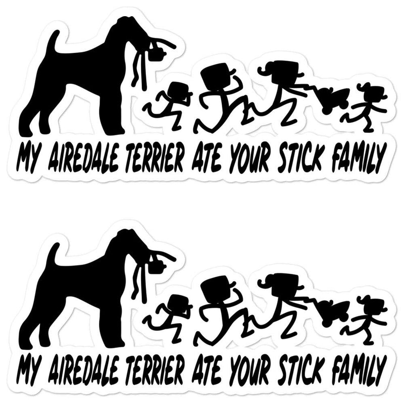 Airedale Terrier Ate Your Stick Family Sticker - Decal Sticker World