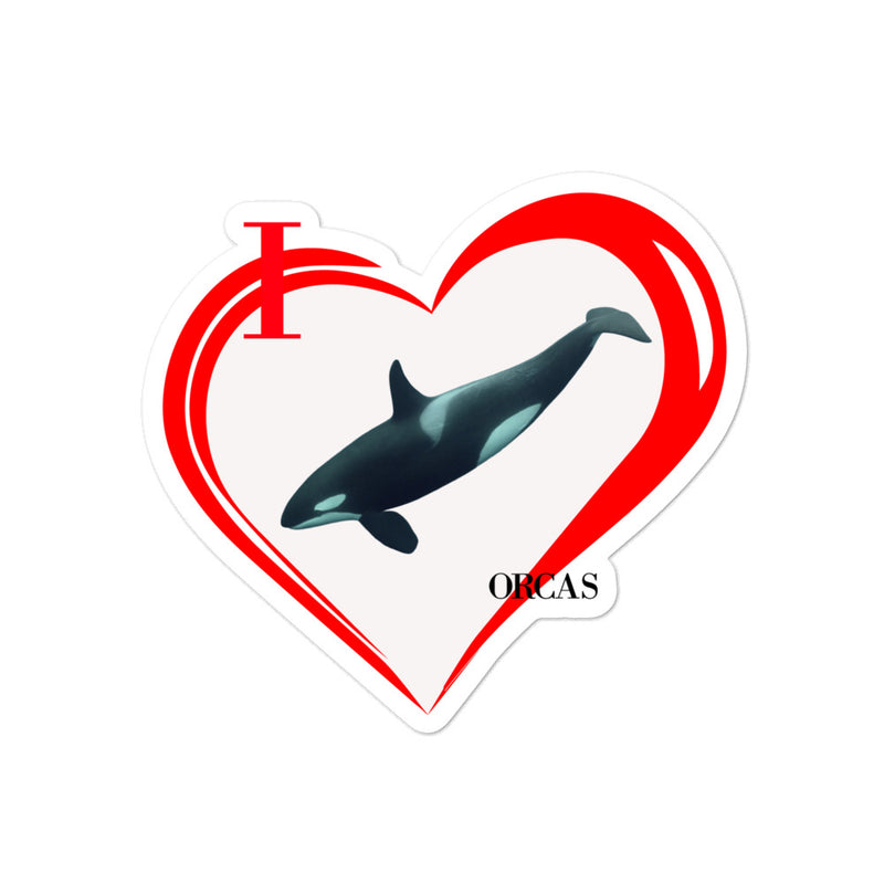 I Love Orcas Bubble-free stickers - Decal Sticker World