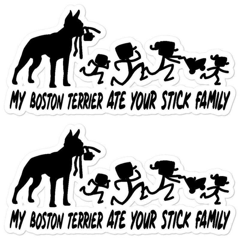Boston Terrier Ate your Stick Family Sticker - Decal Sticker World