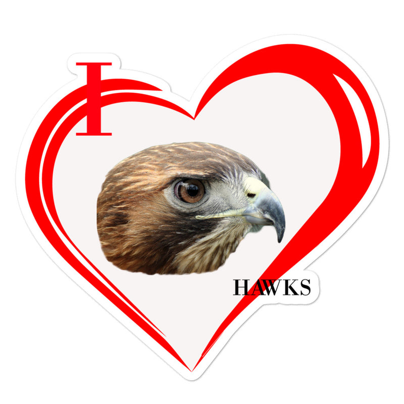I Love Hawks Bubble-free stickers - Decal Sticker World