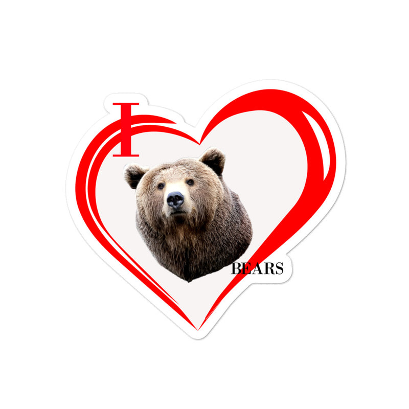 I Love Bears Bubble-free stickers - Decal Sticker World