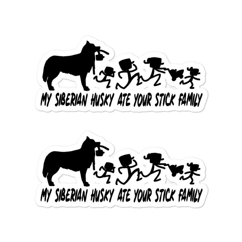 Siberian Husky Ate Your Stick Family Sticker - Decal Sticker World
