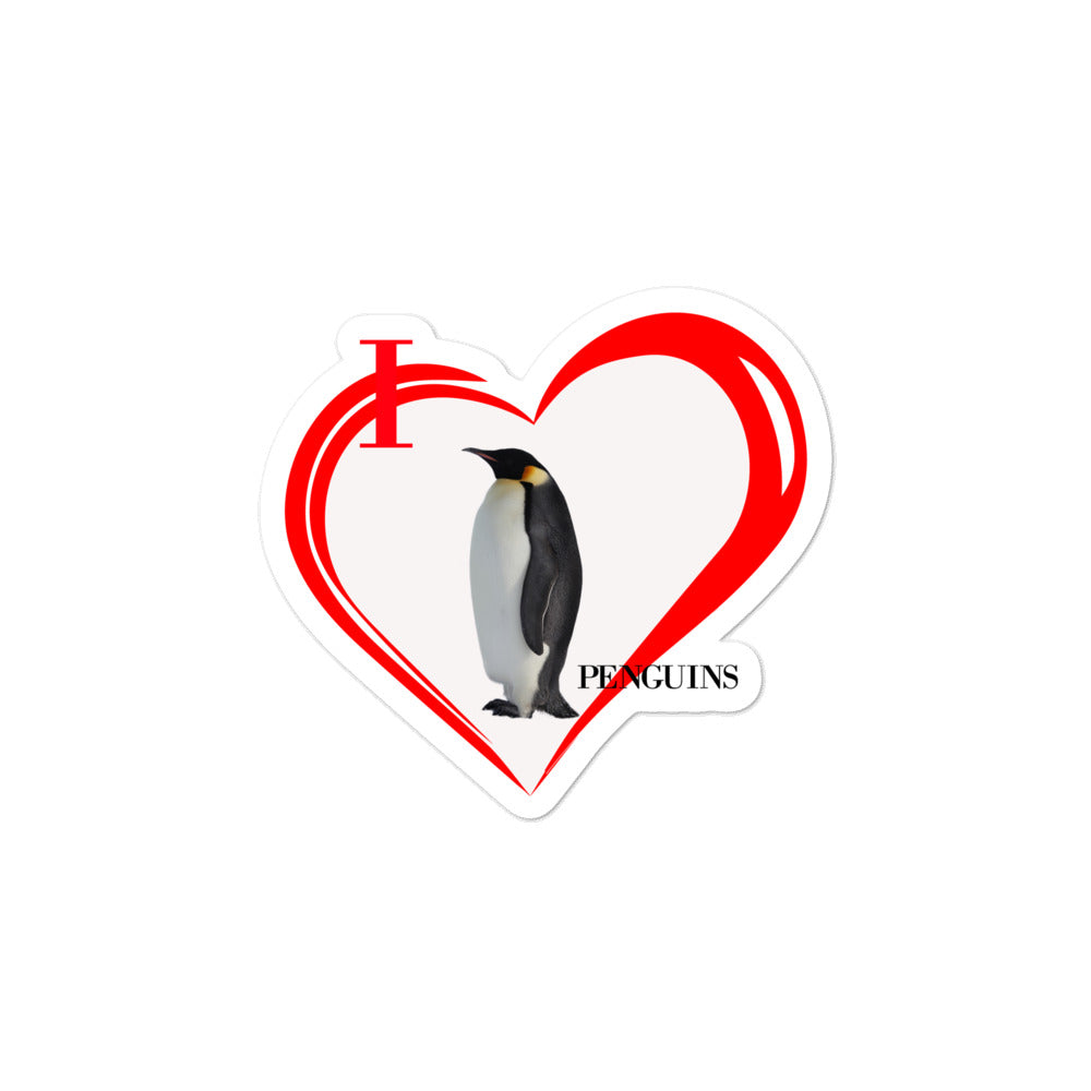 I Love Penguins Bubble-free stickers